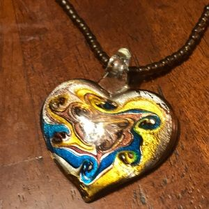 Necklace w/Glass Heart-NEW